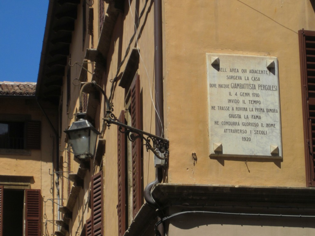 A plaque indicates the location of Pergolesi's birthplace